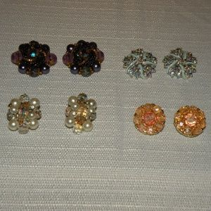Vintage glam clip on earrings--Bring the Bling